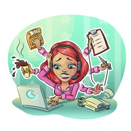 Business cartoon woman hard working in office. Many tasks concept, Vector illustration clip art