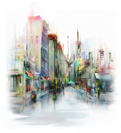 Photo for Illustration of city street. Watercolor style - Royalty Free Image