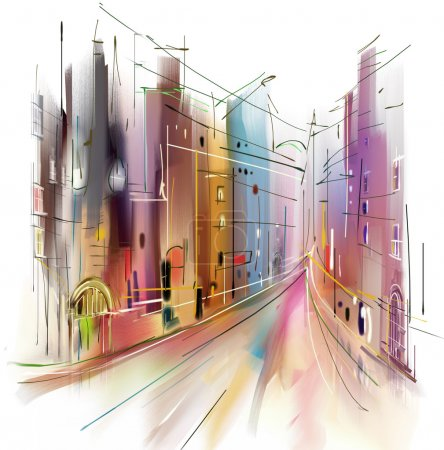 Photo pour Illustration de rue de la ville. Style aquarelle . - image libre de droit