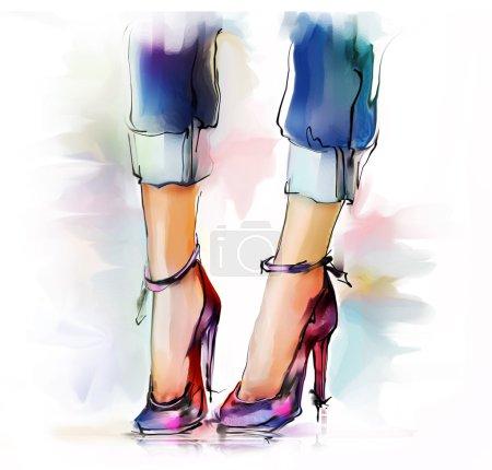 Photo pour Élégantes jambes et chaussures féminines peintes à la main illustration de mode - image libre de droit