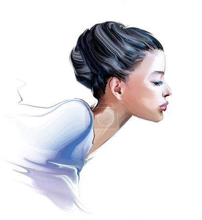woman profile with hair style