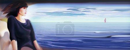 woman sitting at tropical beach