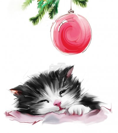 Photo for Adorable Sleeping Cat under Christmas tree with decoration isolated on white background - Royalty Free Image