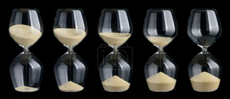 Set of hourglasses isolated on black background