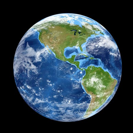 Planet Earth from space showing North & South America, USA. Worl