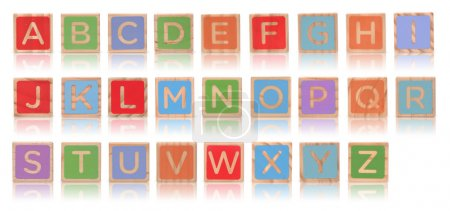 Wooden alphabet blocks with reflection isolated on white