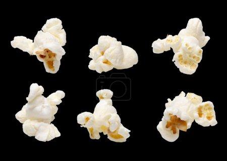 Popcorn set isolated on black