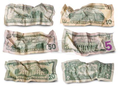 Photo pour Ensemble de billets de dollar froissés sur fond blanc - image libre de droit