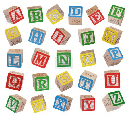 Photo for Wooden alphabet blocks isolated on white background - Royalty Free Image