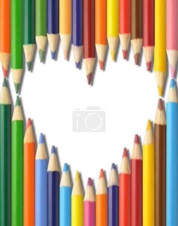 Colorful pencils heart shape