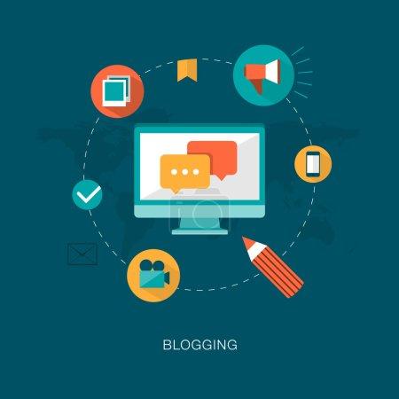 Modern  blogging concept illustration