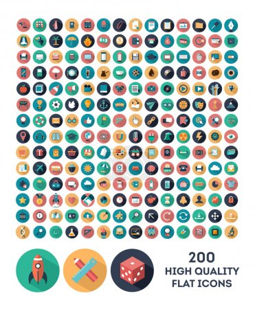 Illustration for Set of 200 high quality vector flat icons - Royalty Free Image