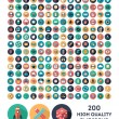 Set of 200 high quality vector flat icons...
