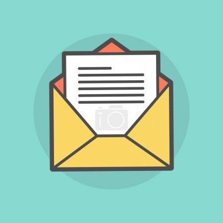 Illustration pour Enveloppe ouverte avec message, illustration vectorielle de style plat - image libre de droit