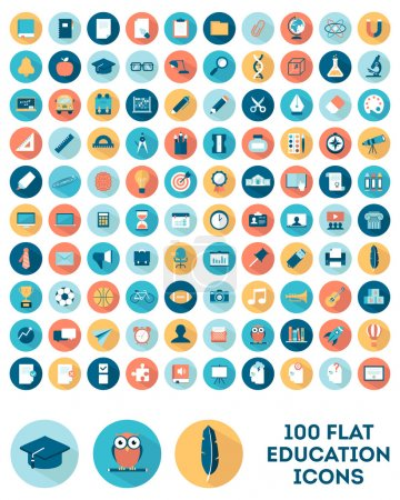 Illustration for Set of 100 flat style education icons, vector illustration - Royalty Free Image