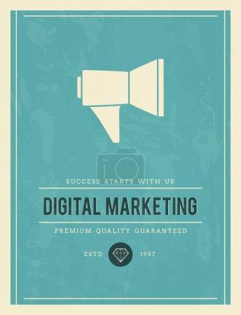 Illustration pour Affiche pour le marketing numérique, illustration vectorielle - image libre de droit