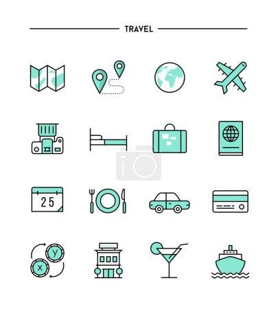 Illustration for Set of flat design, thin line travel icons, vector illustration - Royalty Free Image