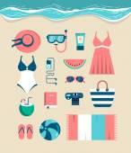 Beautiful set of beach essentials