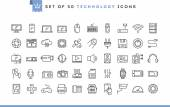 Set of 50 technology icons