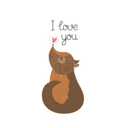 Photo pour Carte d'amour avec chien et coeur pour le design de la Saint-Valentin. Chiot vecteur isolé sur fond blanc . - image libre de droit