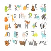 Cute vector zoo alphabet with cartoon animals isolated on white background Grunge letters cat dog turtle elephant panda alligatorlion zebra