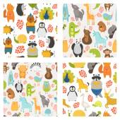Vector seamless patterns with cute animals