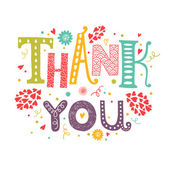 Vector Thank you card with hand drawn lettering with flower decorative elements isolated on white background