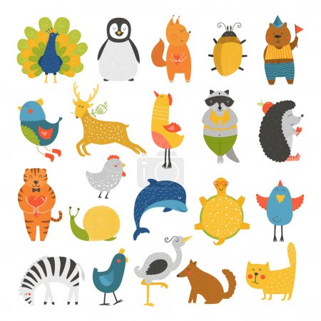 Illustration for Cute animals collection, baby animals, animals vector. Vector cat, peacock, penguin, squirrel, beetle, bear, bird, deer, raccoon, hedgehog, tiger, dolphin, heron, tortoise, zebra, dog, snail isolated on white background. Cartoon animals set - Royalty Free Image