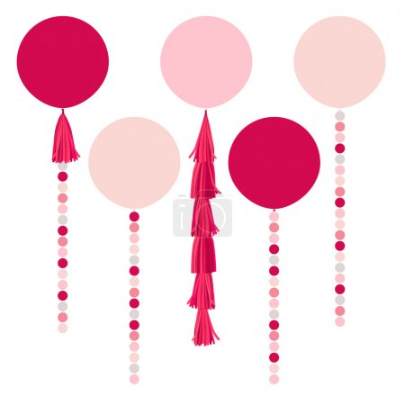 Illustration for Vector holiday pink balls, trendy garlands with tassels isolated on white background - Royalty Free Image
