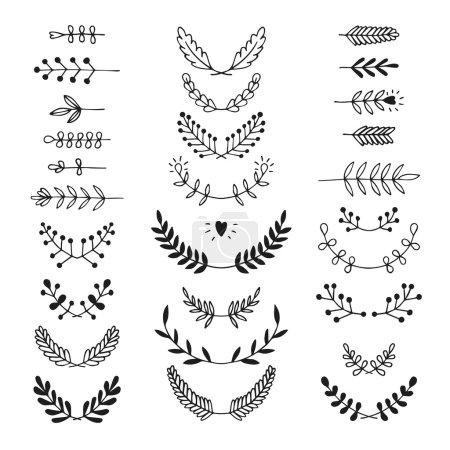 Set of vector handdrawn laurels, wreath
