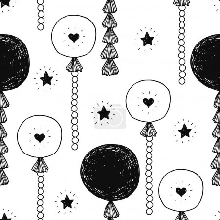 Illustration for Hand drawn happy birthday background with balls and stars, trendy garlands with tassels, seamless pattern - Royalty Free Image