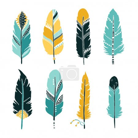 Hand drawn set of feathers