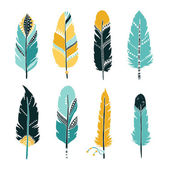 Hand drawn set of colorful feathers isolated on white background Vector tribal ethnic aztec hipster style