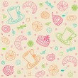 Seamless pattern with coffee, sweets and pastries ...