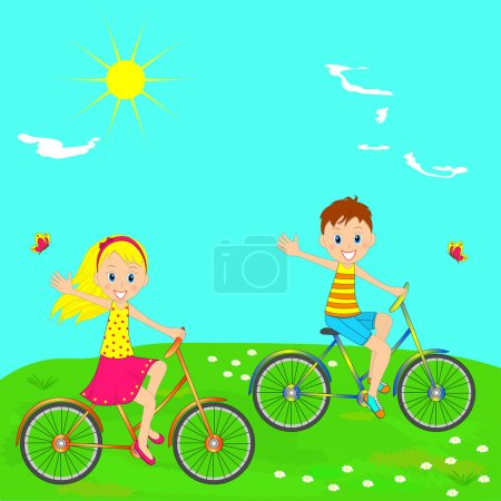 Boy and girl riding on a bicycle