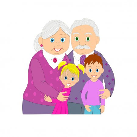 Elderly grandmother, grandfather and grandson and granddaughter