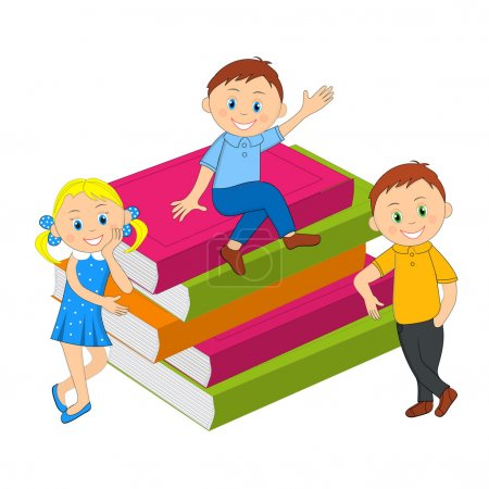 children, boy, girl and a stack of books