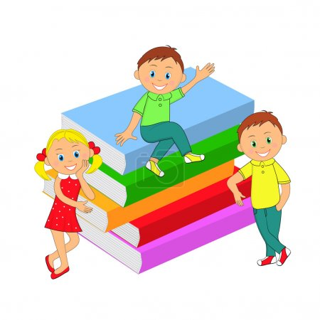 children, boys, girl and a stack of books