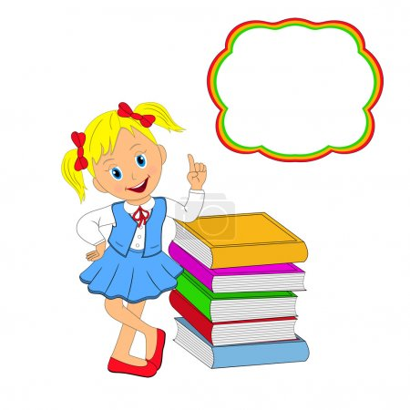girl standing rests on a stack of books