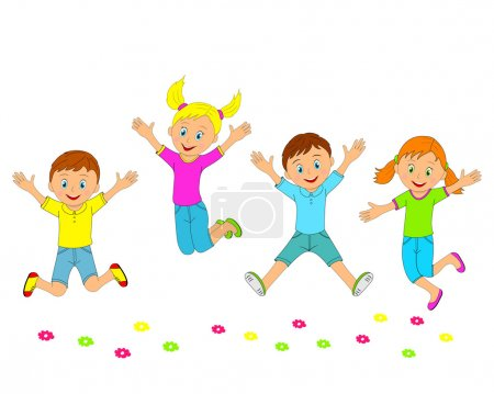 children,boys and girls jumping and smiling