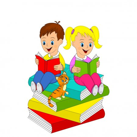 girl and boy read the book