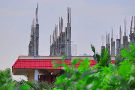 cadre extérieur d'une nouvelle maison en construction en Inde tamilnadu