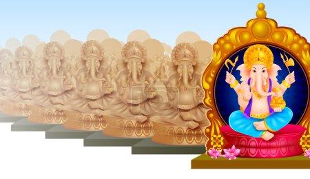 Illustration pour Illustration vectorielle facile à éditer de l'idole du Seigneur Ganesha pour Happy Ganesh Chaturthi - image libre de droit