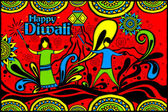 Easy to edit vector illustration of kids playing with firecracker in Diwali in Indian art style background