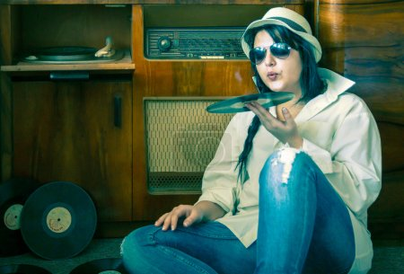 70s Fashion Girl with Sunglasses and Vinyl Player
