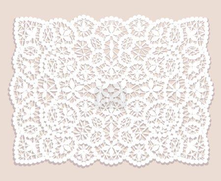 Illustration pour Napperon en dentelle blanche avec motif fleuri sur fond beige - image libre de droit