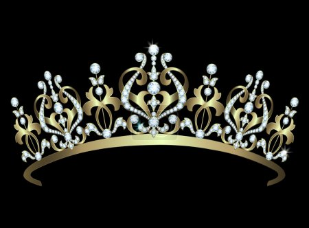 Gold diadem with diamonds