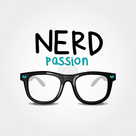 Nerd passion. Vector illustration of glasses nerd style.