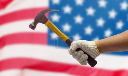 Labor hand on the USA Flag