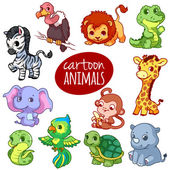 Cartoon african animals Cute little animals isolated on a white background